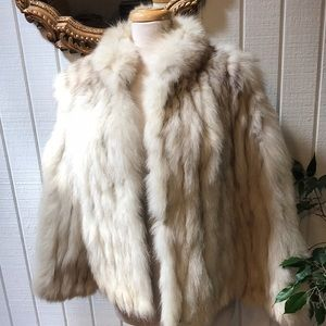 Mid-century off white rabbit coat and ear muffs